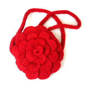 Rose Felt Purse Red