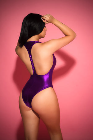 PURPLE RAIN RACERBACK SWIMSUIT