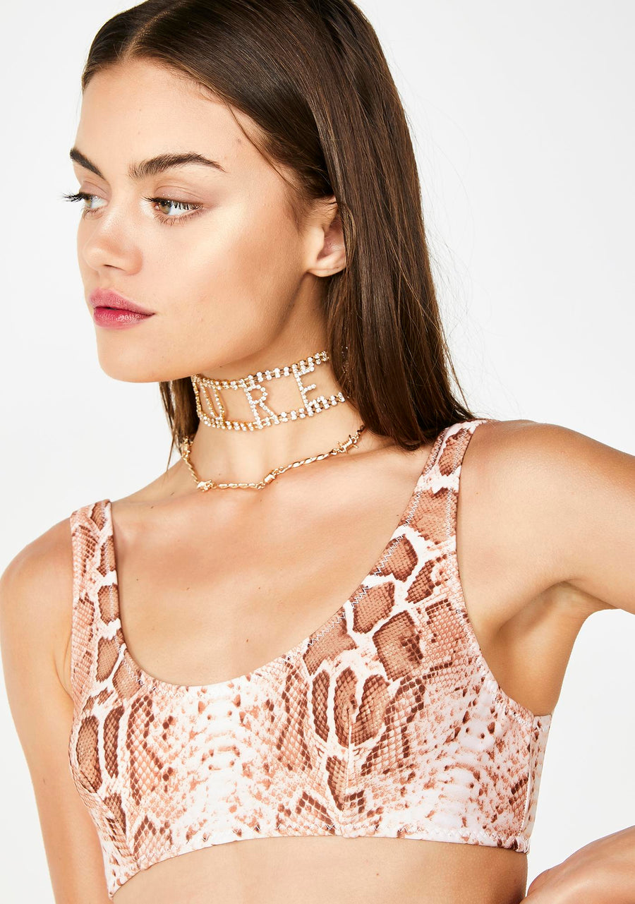 SNAKECHARMER SCOOP NECK BIKINI TOP