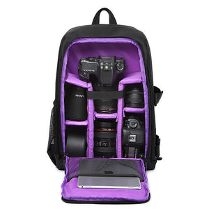 "Camera & Accessories Padded Backpack Video Case/DSLR: Multi-functional, Waterproof w/ Rain Cover, 15.6"" laptop slot"
