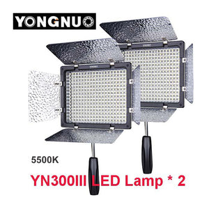 2pcs Yongnuo YN300 III YN-300 III 5500K CRI95+Pro LED Video Light w/ Remote Control, Support AC Power Adapter & APP Remote