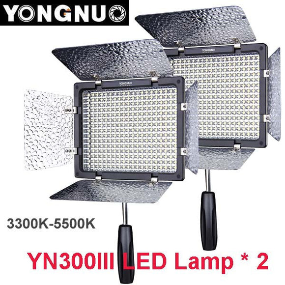 2pcs Yongnuo YN300 III YN-300 lIl 3200k-5500K CRI95+Pro LED Video Light w/ Remote Control, Support AC Power Adapter & APP Remote