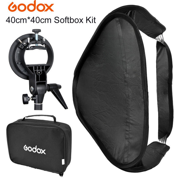 GODOX Fold Portable Photo Studio Softbox Diffuser 40 x 40cm with S-Type Bowens mount Bag Kit for Flash Speedlite Beauty Dish
