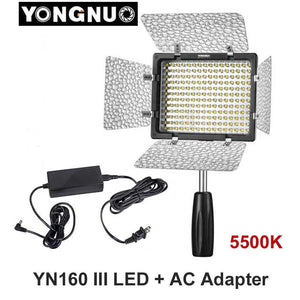 Yongnuo YN160 III 5500K CRI95 160 LED Video Light with AC DC Power Adapter for Canon Nikon Sony DSLR & Camcorder