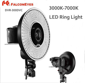 FALCONEYES DVR-300DVC 300 Ring LED Panel 5600K Light Lighting Video Film Continuous Lamp W/Camera Bracket/ filter