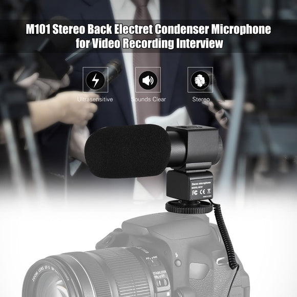 M101 Stereo Microphone Back Electret Condenser Microphone Video Recording Interview Microphone with Windscreen for Canon Nikon Sony and Other Mainstream DSLR Cameras
