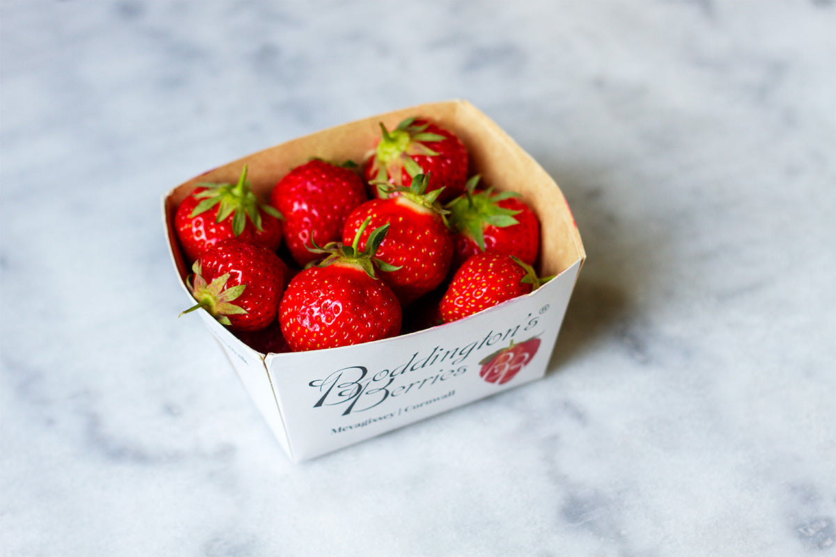 punnet of strawberries from boddington's berries in cornwall