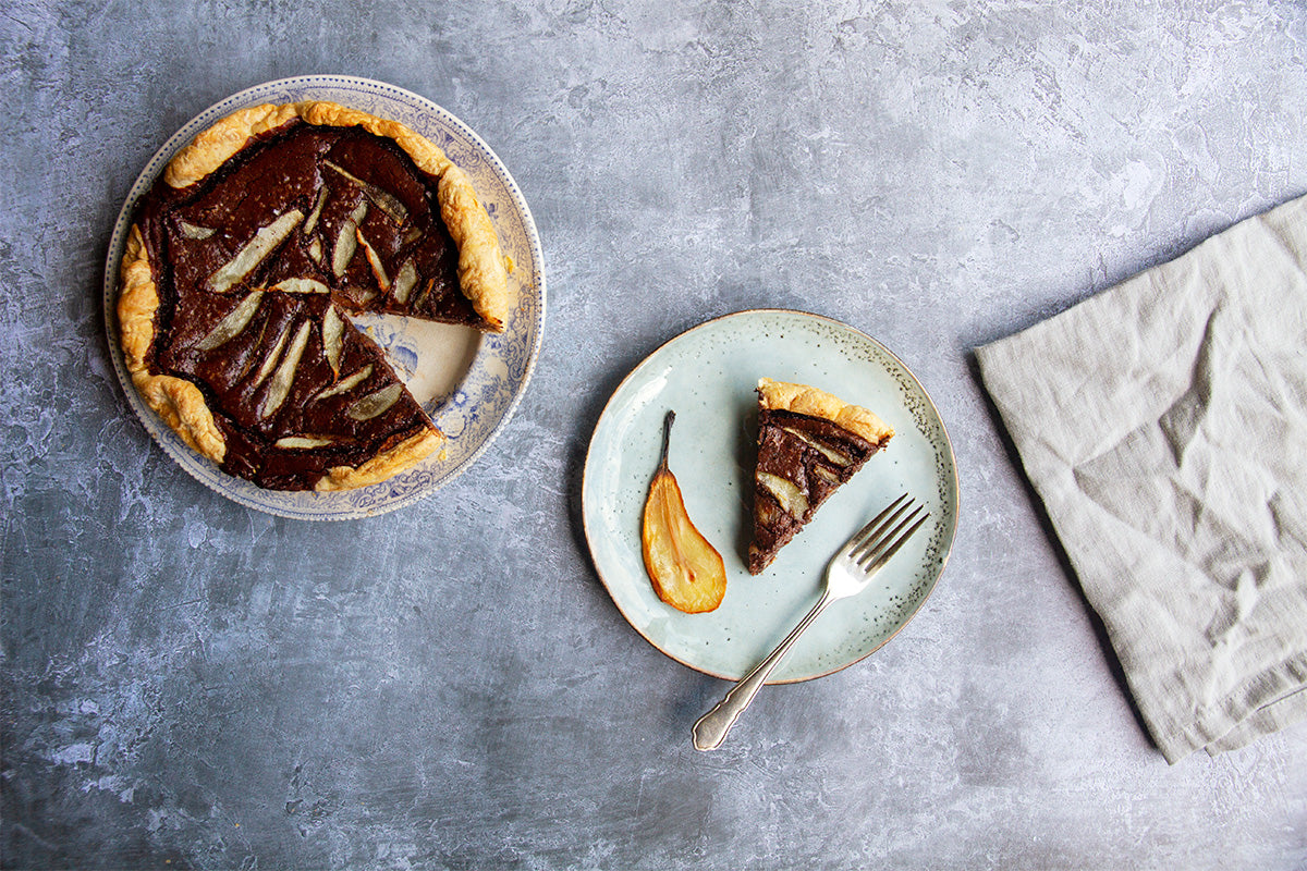 pear and chocolate torte by rustic cakes for fruutbox