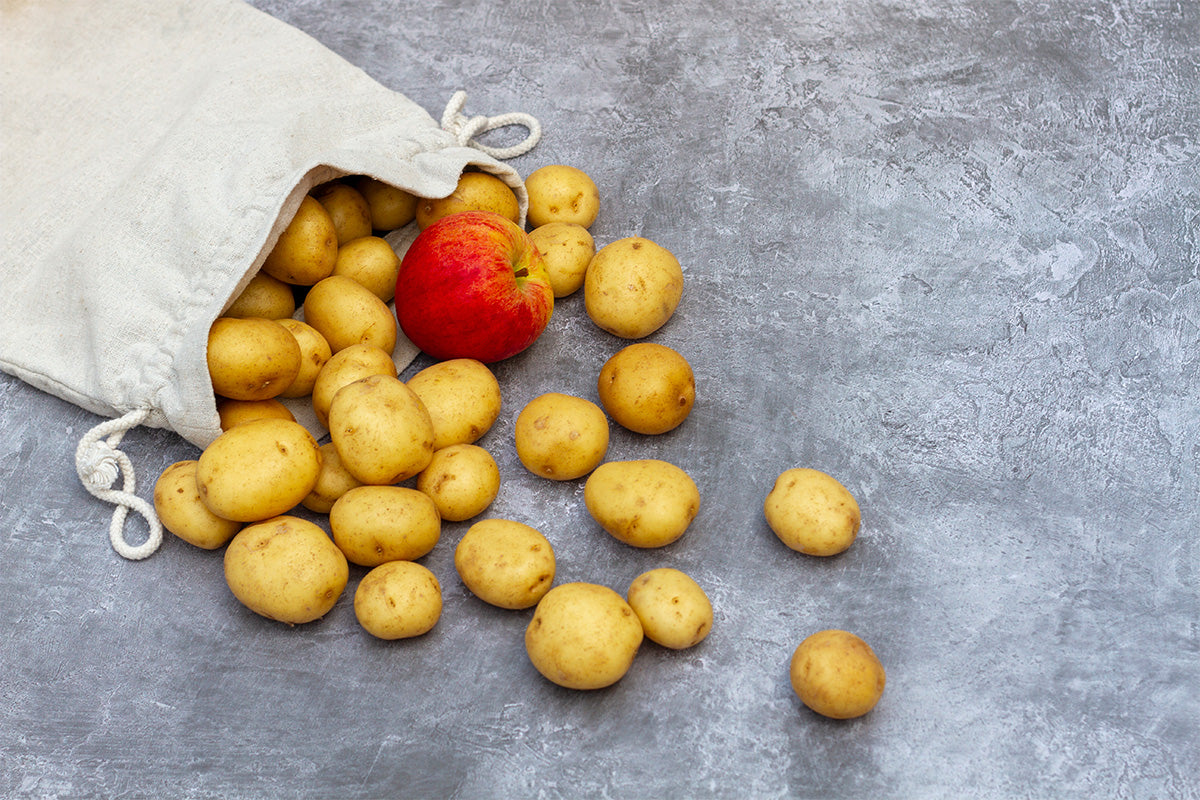 storing potatoes with an apple to prevent early sprouting