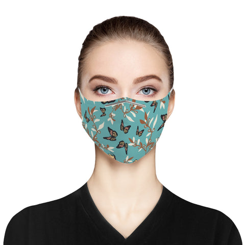 Turquoise Butterfly Cloth Face Mask For Adults
