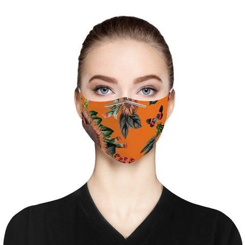 Orange Sunflower Cloth Face Mask For Adults