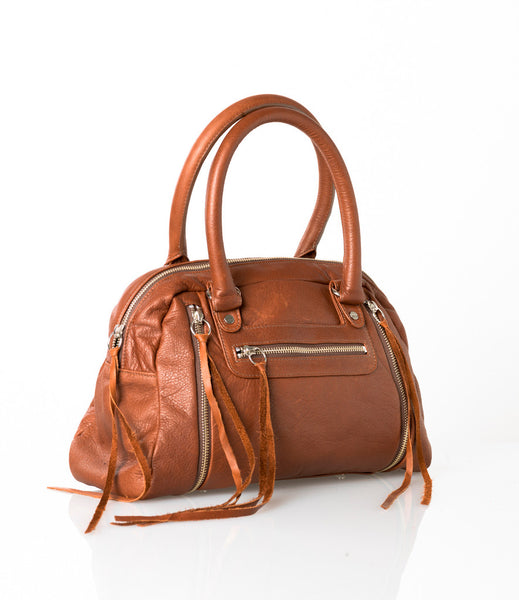 Cognac leather expanding satchel with zippers