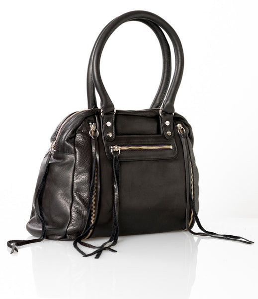 Black leather expanding tote with zippers
