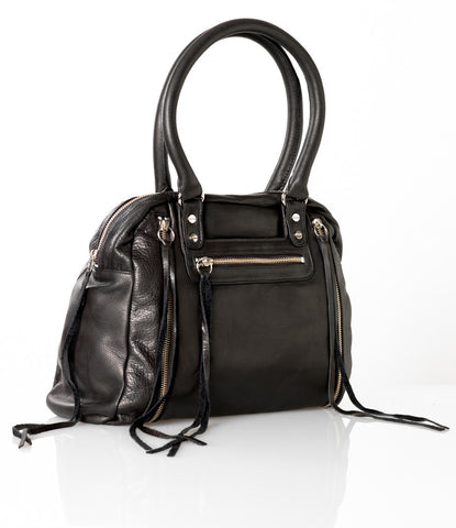 Jacki Easlick Black leather expanding tote with zippers