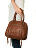 Cognac leather expanding tote with zippers