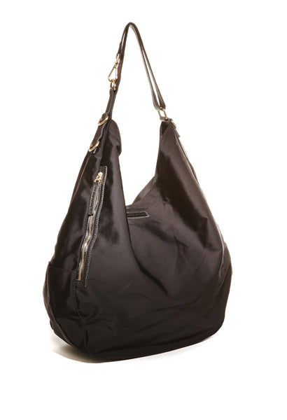 Black nylon oversized hobo bag