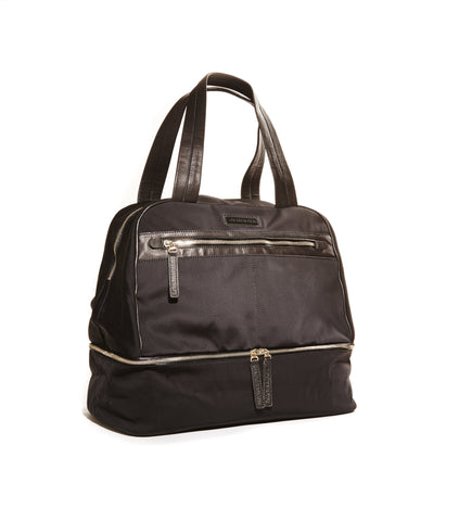 Black nylon travel bag
