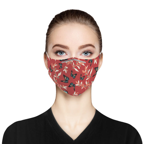 Cranberry Butterfly Cloth Face Mask For Adults