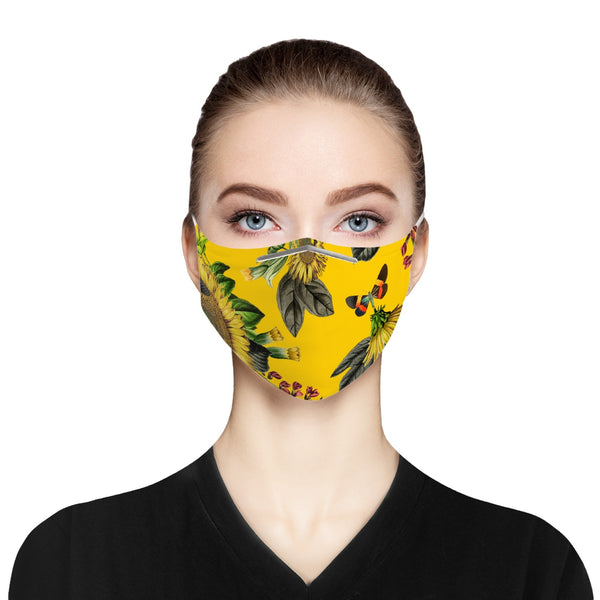 Yellow Sunflower Cloth Face Mask For Adults