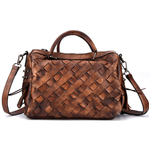 Woven Leather Satchel with Crossbody Strap