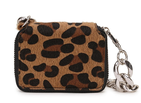 Leopard Print Zebra Faux Fur Silver Chain Mini Bag