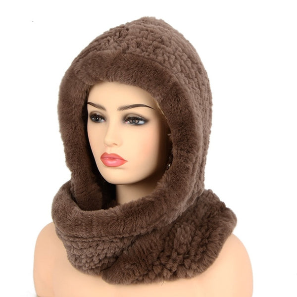 Real Fur Hooded Hat