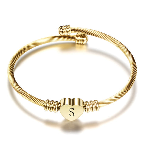 Gold Stainless Steel Heart Bracelet Bangle With Initial