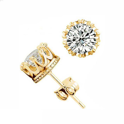 Crown Zircon Earring Studs