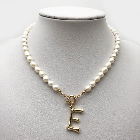 Pearl Necklace with Gold Initial