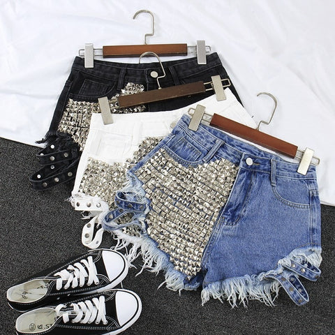 High Wasted Denim Shorts with Pyramid Studs