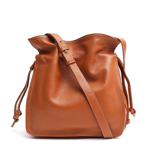 Leather Bucket Handbag