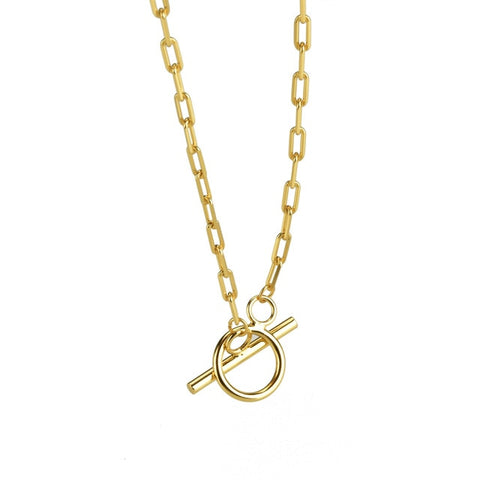 925 Sterling Silver Gold Paperclip Necklace with Toggle