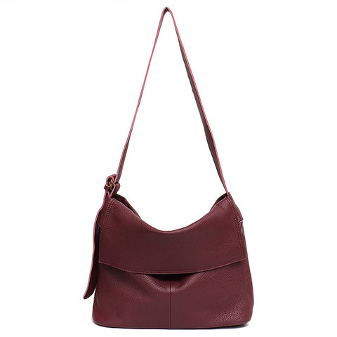 Genuine Leather Flap Hobo