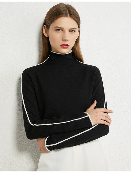 Minimalist Turtleneck Sweater with Stripe Accent