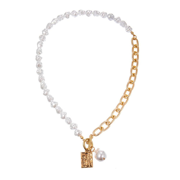 Baroque Irregular Pearl Lock Chains Necklace