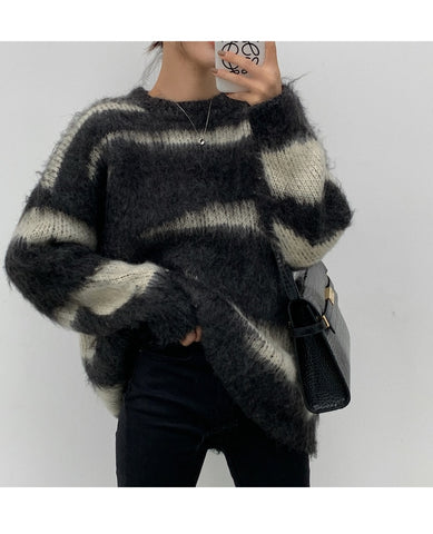 Mohair Striped Oversized Sweater
