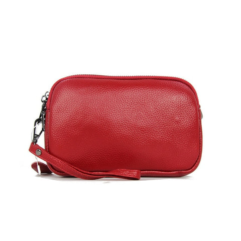 Real Leather 3 Zippered Crossbody Bag