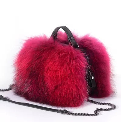 Fox Fur Top Handle Crossbody Bag