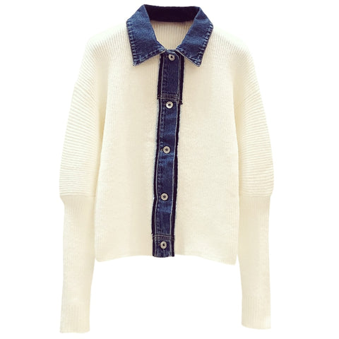 Loose Denim Knit Bubble Sleeve Sweater
