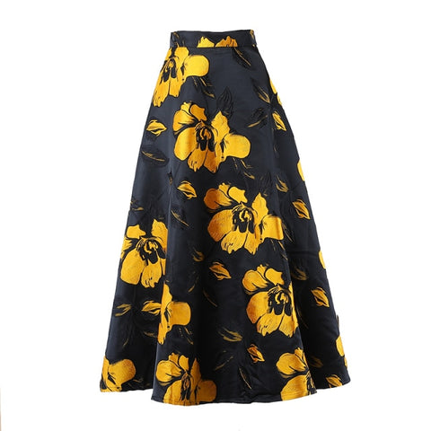 High Waist Flower Jacquard Skirt