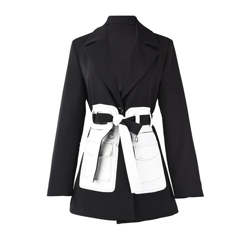 Black Contrast Color Pocket Blazer