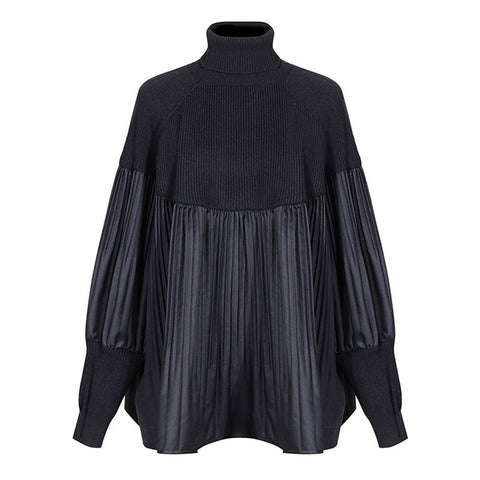 Pleated Loose Fit Turtleneck