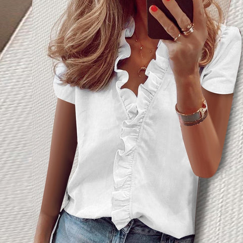 Women's Short Sleeve Ruffles Blouse
