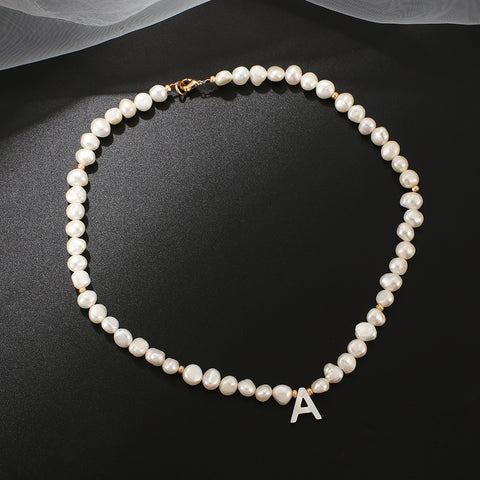 Pearl Necklace Choker w/ Initial