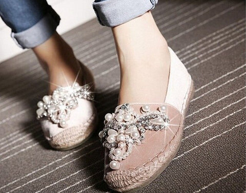 Rhinestone with Faux Pearl Velvet Espadrilles