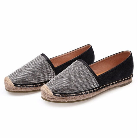Espadrilles with metallic trim and sparkle top