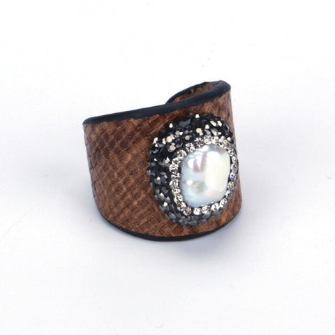 Gorgeous Peal Python Adjustable Ring