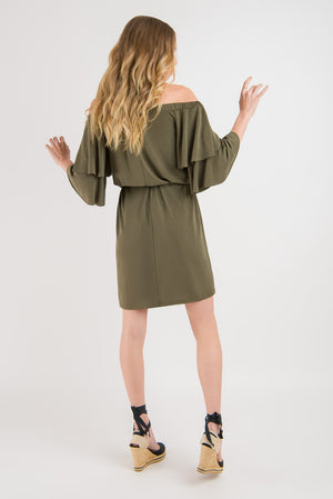 Off the Shoulder Dress - Khaki