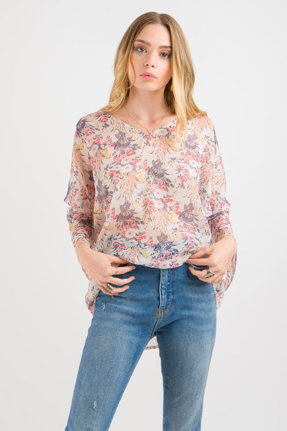 Tie Sleeve Top - Red Floral print Video