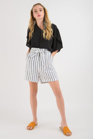 Linen Short - White stripe print